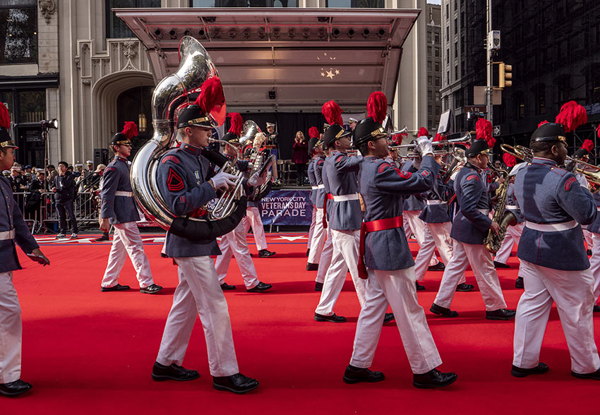 Passing Marching Band at the 2019 Veterans Day Parade