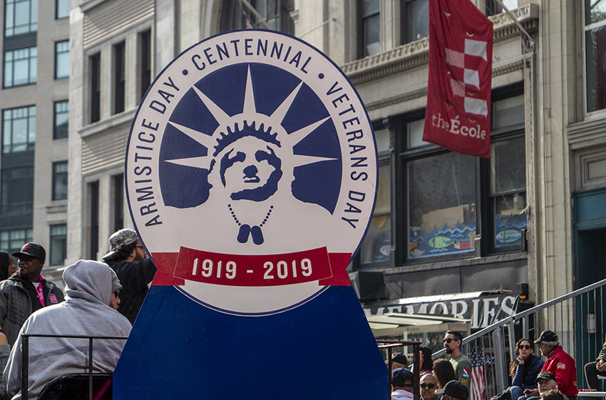 Armistice Day Signage - 1919-2019 at the 2019 Veterans Day Parade